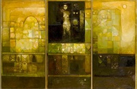 ancient spirit on the golden city (triptych) by suad al-attar