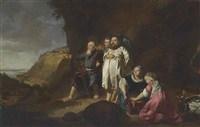 portrait of a family, probably in the guise of the family of tobias, full-length, in a landscape by thomas de keyser
