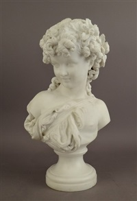 jeune fille à la chevelure fleurie by mathurin moreau