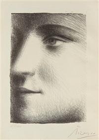 visage de marie-thérèse, with book picasso by andré level by pablo picasso