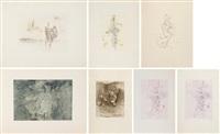 la chauve-souris; entre deux eaux; les maries; violetta; violetta; sans titre; anatomie de l'image (set of 7 prints) by hans bellmer