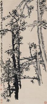 墨梅图 立轴 水墨纸本 (painted in 1919 ink plum) by wu changshuo