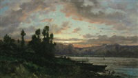 flusslandschaft im abendrot by charles félix edouard deshayes