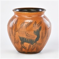 later mat/mat moderne vase decorated with deer, cincinnati, oh, 192 by william e. hentschel