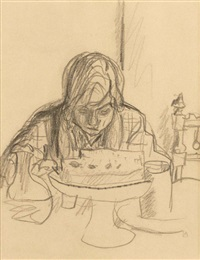 la table (marthe bonnard) (preparatory study) by pierre bonnard