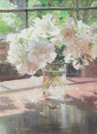 white peony by window by xiaogang zhu