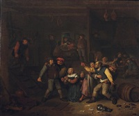 intérieur de taverne avec une rixe de paysans by egbert van heemskerck the elder