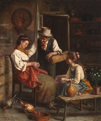 girls receiving flowers from a grandfather in a rural interior by ezio ricci