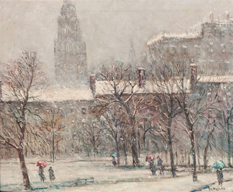 madison square park new york in winter by guy carleton wiggins