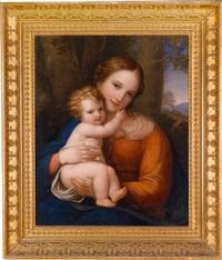 madonna mit kind vor landschaftlichem hintergrund by natale schiavoni