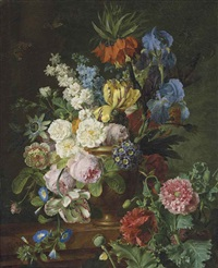 fritillaria imperialis, roses, tulips, morning glory, an anemone, auriculas, irises and a passion flower in a stone vase on a ledge of red marble, with poppies and butterflies by jan frans van dael