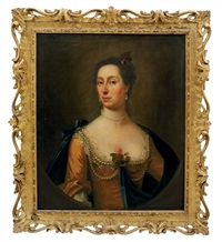 portrait of woman traditionally identified as the sister of samuel cook in a golden silk dress and blue wrap, draped in pearls, a rose at her corsage by francis lindo