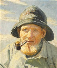 the fisherman anthon fedder henriksen from skagen with sou'wester smoking his pipe by michael peter ancher