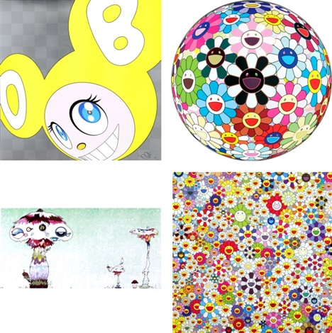 and then and then...(yellow)/ flowerball blood (3-d) v/ hypha will cover the world... wait till we get there!/ flowers, flowers, flowers (set of 4) by takashi murakami