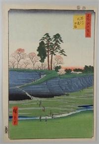 série des 100 vues célèbres d'edo. planche 28 - shinagawa gontenyama. la colline du palais à shinagawa by ando hiroshige