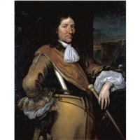 portrait of a soldier, half-length, wearing a buff surcoat and breastplate and holding a baton by juriaen jacobsz