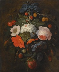 a festoon of flowers and fruit, including a pink rose, a poppy, a snowball, gooseberries and fraises de bois, along with a variety of insects by abraham mignon
