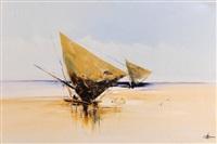 spanish beach scene by john haslip