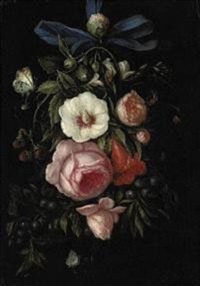 a garland of roses, blueberries, strawberries and other blooms with caterpillars, butterflies and a ladybug by abraham mignon