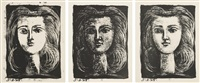 tête de jeune fille (head of a young girl): three states (set of 3) by pablo picasso