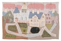 städtchen mit kirche und rosa wolken by elisabeth ahnert