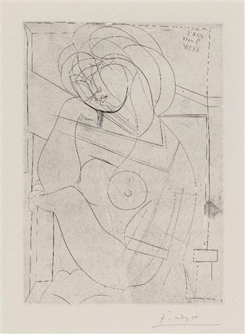 femme nue assise, la tète appuyée sur la main, pl. 21 (from suite vollard) by pablo picasso