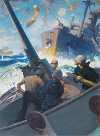 anti-aircraft gunners in pacific battle by william james aylward