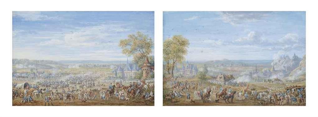 bataille militaire près d'un village (+ campement militaire avec une bataille près d'un village; pair) by louis nicolas van blarenberghe