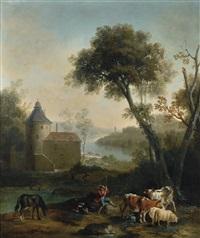 pastorale avec un château à l'arrière plan by jean-baptiste oudry