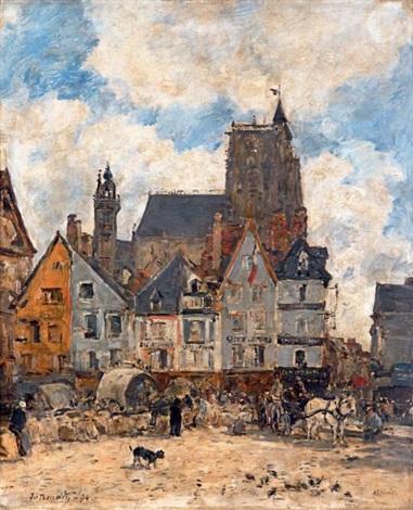 abbeville. la place courbet et l'église saint-vulfran by eugène boudin