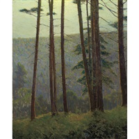 in pennsylvania woods (silhouette pines) by charles warren eaton