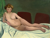 femme couchée by félix edouard vallotton