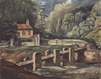 passerelle sur la rivière by romain kramstyk