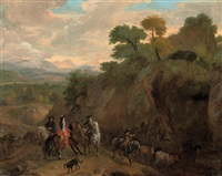 elegant figures on horseback in a rocky landscape by dirk maes