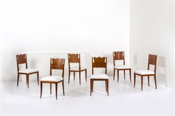 Sei sedie con struttura in legno, seduta imbottita rivestita in ...