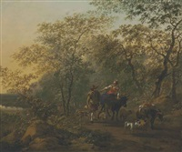 an italianate landscape with a shepherdess and a drover by nicolaes berchem