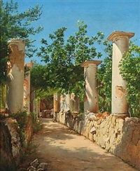italian ancient columns, in the background figures at the well. presumably from capri by carl frederik peder aagaard