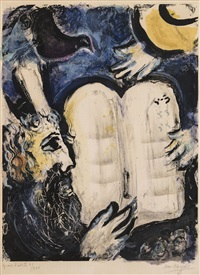 moses and the tablets of the law by marc chagall