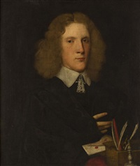 half length portrait of a young man said to be sir george walker by john hayls