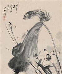 风荷图 镜心 水墨纸本 (painted in 1948 lotus) by zhang daqian
