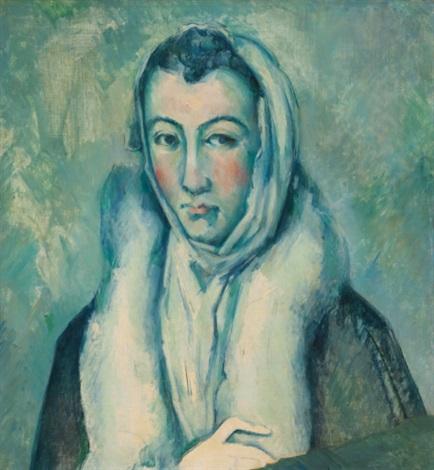 la femme à l'hermine (after le greco) by paul cézanne