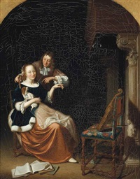 a couple beside a fireplace in an interior by pieter cornelisz van slingeland