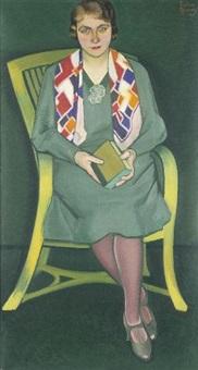 portrait einer dame im stuhl by heribert fischer-geising