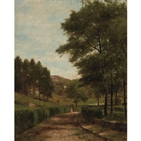 strolling down a country lane by george frank higgins