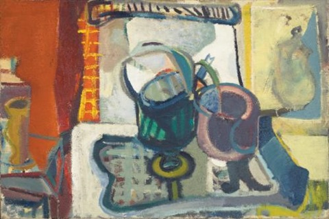 gas stove with kettle and saucepan by patrick heron