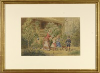 children with governess in garden by gustav zafaurek