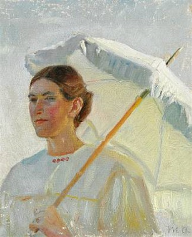 portrait of minne holst holding a parasol (study for painting) by michael peter ancher
