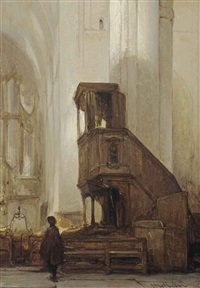 the pulpit of the eusebiuskerk, arnhem by johannes bosboom