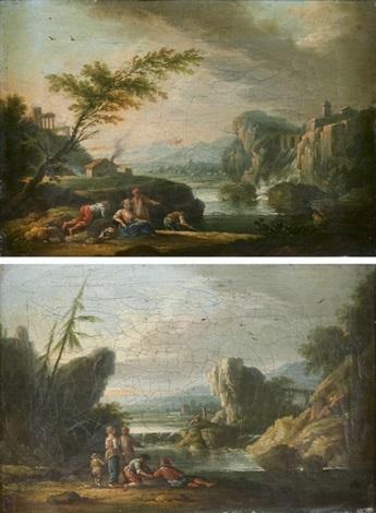 paysages de rivière avec des pêcheurs et promeneurs pair by jean baptiste charles claudot