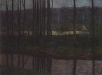 riverside cottages at twilight by charles herbert eastlake